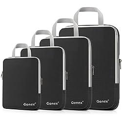 Gonex - 4 Packs Organizador Maleta Bolsas Portátiles para Ropa Bolsas Extensibles e Impermeables Organizador de Almacenaje del Cuatro-tamaño y a Prueba de Polvo Negro