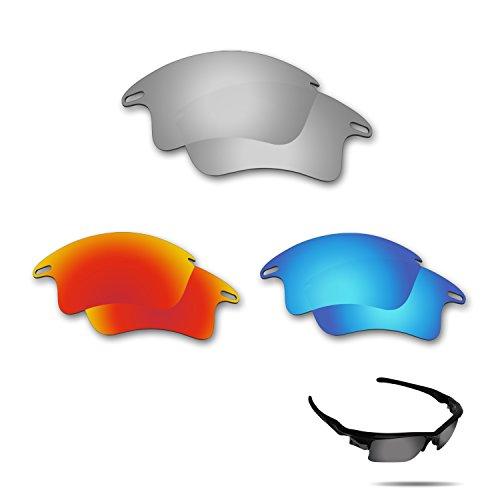 fiskr anti-saltwater Polarisierte Ersatz Gläser für Oakley Fast Jacket XL Sonnenbrille 3Paar Pack, Metallic Silver & Fire Red & Ice Blue (Gläser Jacket Fast Oakley)