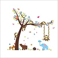 Rocwart Cartoon Tree Wall Sticker - Kid Baby Nursery Owl Monkey Forest Animal Jungle Decals Removable Vinyl Wall Stickers Murals Home Decoration DIY Living Bedroom Wallpaper Kids Room Gift