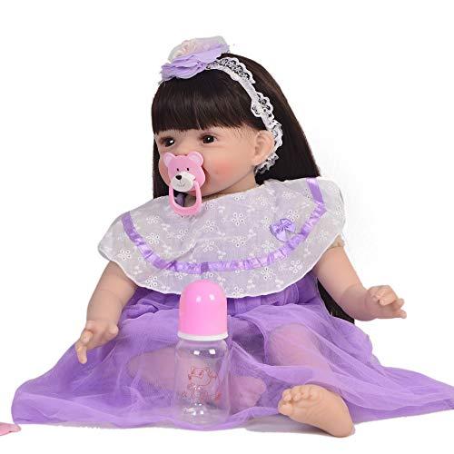 ZXKS 55cm Reborn Baby Lange Haare Baumwolle körper lila Kleid Simulation Baby Geburtstag Urlaub Geschenk -