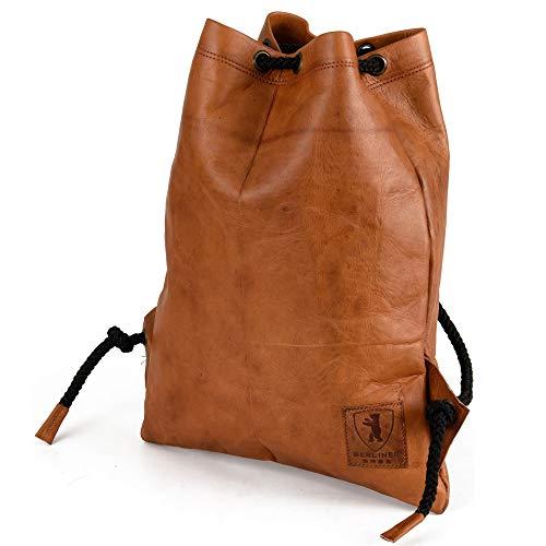 Gym Bag Turnbeutel -Berliner Bags- aus Leder Rucksack Sportbeutel Turntasche Wasserdicht Damen Herren Vintage Retro Braun
