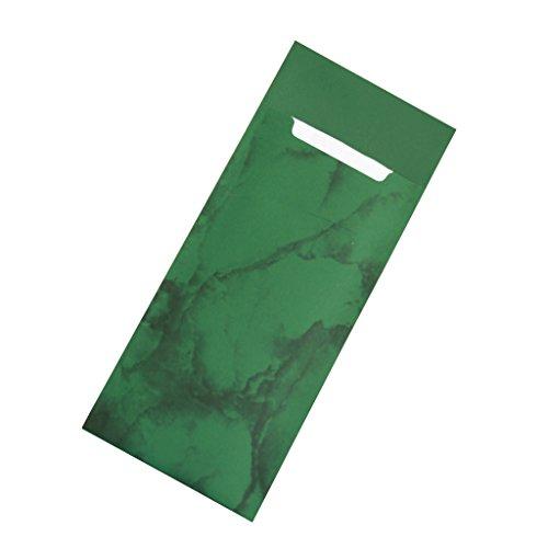 Gastropapier 520 Bestecktaschen mit Serviette dunkelgrün Marmoriert 20 cm