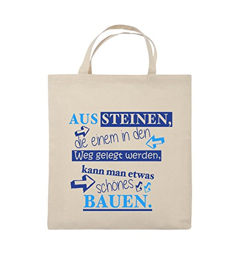 Comedy Bags - Aus Steinen, die einem in den Weg gelegt werden, kann man etwas schönes Bauen. - Jutebeutel - kurze Henkel - 38x42cm - Farbe: Schwarz / Weiss-Neongrün Natural / Royalblau-Hellblau