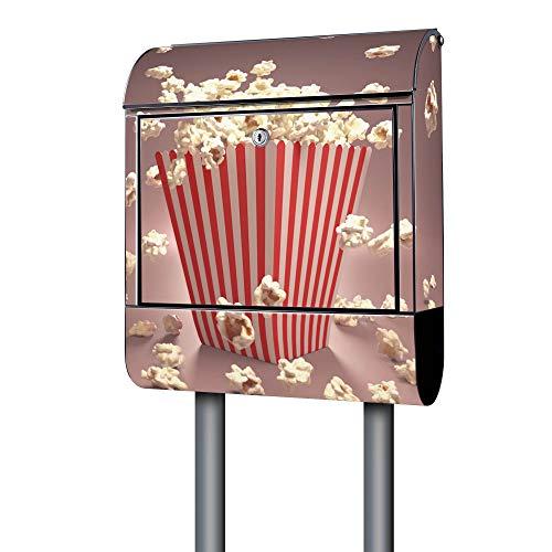 BANJADO Design Briefkasten schwarz | 38x47x13cm groß mit Zeitungsfach | Stahl pulverbeschichtet | Wandbriefkasten mit Motiv Popcorn mit silbernem Standfuß - Popcorn Beschichtete