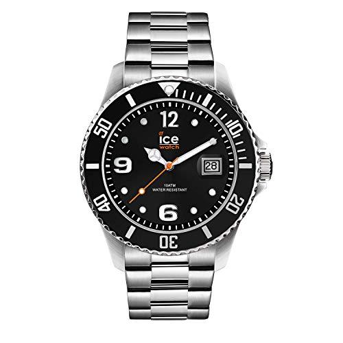 Ice-Watch - Ice Steel Black silver - Schwarze Herrenuhr mit Metallarmband - 016031 (Medium)