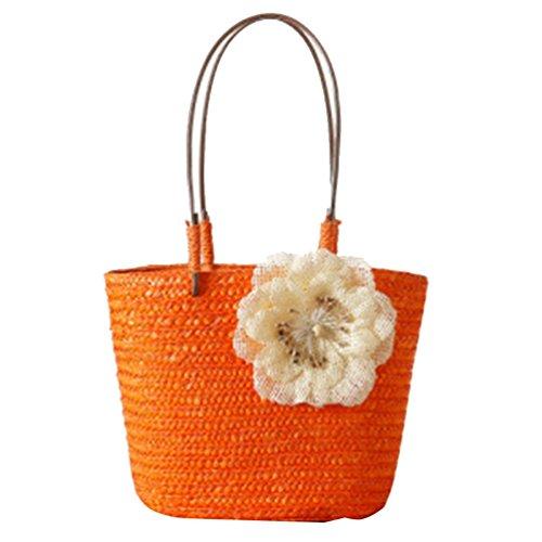 YOUJIA Damen Stroh Taschen Strandtaschen Tote mit Blumen Boho Schultertaschen Handtaschen Orange