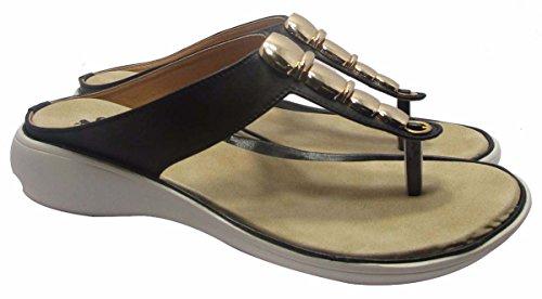 Sammy élégantes sandales plates extérieures des femmes argent floater tongs pantoufle Noir