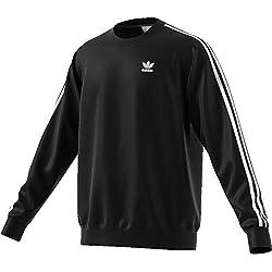 adidas Herren 3-Streifen Crew Pullover, Black, L