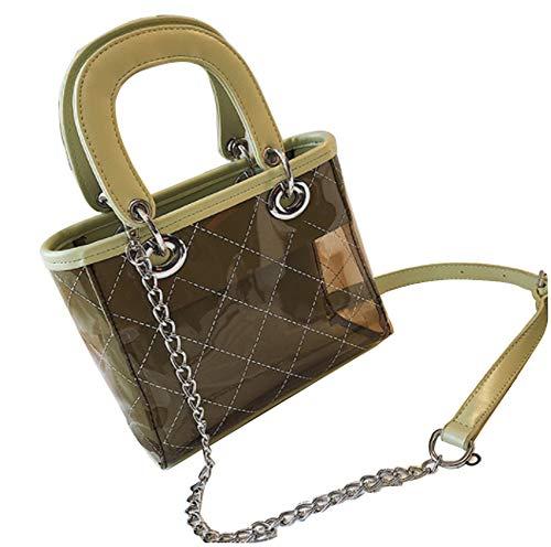 Damen transparente Umhängetasche Messenger Bag Mini Umhängetasche mit verstellbarem Schultergurt für Mädchen-green