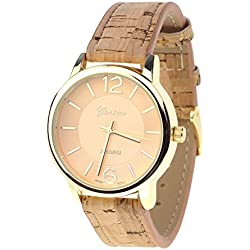 Women's Geneva Japanese Movement Gold-Tone Wood Look Faux Leather Band Watch