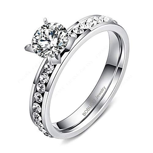 BOBIJOO Jewelry - Bague Solitaire Femme Strass Oxyde Zirconium Acier Argenté Mariage Fiançailles - 56 (7 US), Acier Inoxydable 316
