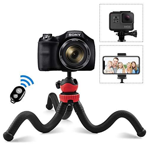 AFAITH Handy Stativ Flexibles Reisestativ Mini-Telefonstativ mit Bluetooth-Fernbedienung, Action-Cam-Adapter, Handyhalterungsclip-Klammer für GoPro Canon DSLR Smartphone