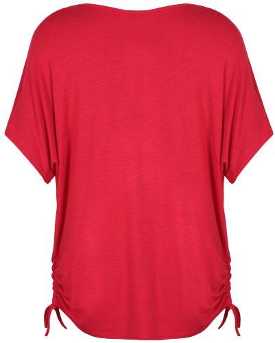 Damen Geblümt Schmetterling Bedruckt Damen Kurz Flügelärmel Seitliche Rüschen Verstellbar Krawatte T-Shirt Top Übergröße Rot