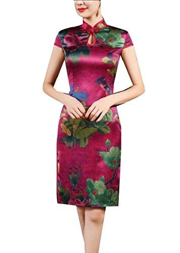 CuteRose Womens Vintage Floral Print Silk Charmeuse Tunic Cheongsam Dress S Wine Red - Charmeuse-print Halter Dress