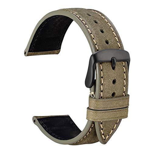 WOCCI Correa Reloj 18mm con Repuestos de Banda, Hebilla Negra, Recambio Unisex (Aceituna de Verde)