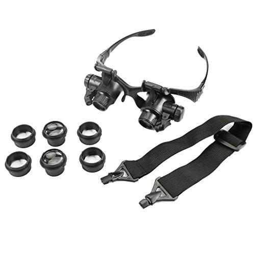 Preisvergleich Produktbild UHAoo Lupen 10X 15X 20X 25X Augen Schmuck Uhr-Reparatur-Vergrößerungsgläser mit 2 -Leuchten Mikroskop