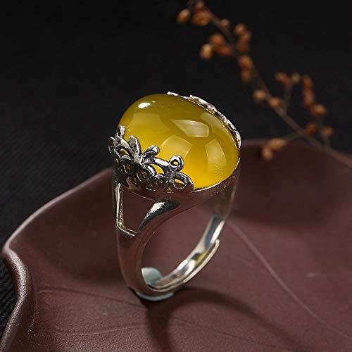 Anello da donna in argento,vintage s925 argento originali fatti a mano in stile cinese semplice moda vecchio openwork scolpito giallo intarsiato calcedonio regolabile di agata in stile etnico anello g