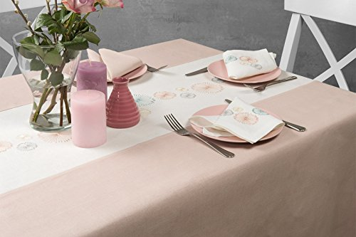 Lin Mode : Rose brodée Nappe en lin, rose/blanc, 150cm x 200cm (59\