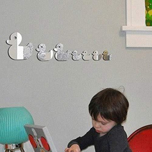Walplus Spiegel Wall Art Enten Dekorative Acryl Aufkleber Abnehmbare Wandbild Aufkleber Vinyl Home Dekoration DIY Living Schlafzimmer Décor Kids, Silber Unisex-ente