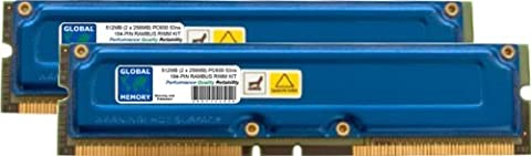 512MB (2 x 256MB) RAMBUS PC600 184-PIN RDRAM RIMM MEMORY RAM KIT FOR PC DESKTOPS/MOTHERBOARDS