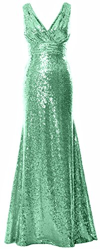 MACloth Women Long Bridesmaid Dress 2017 Sequin V Neck Formal Party Evening Gown Minze