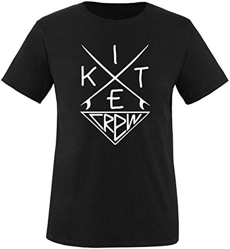 EZYshirt® Kitesurf Crew Herren Rundhals T-Shirt Schwarz/Weiss