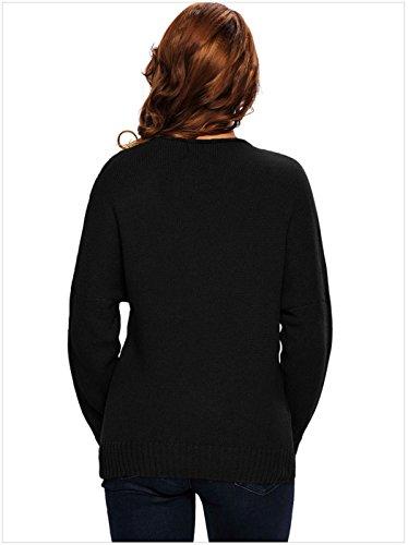 Sexy Manches Longues Encolure Profonde Col En V Portefeuille Croisé Cache-Coeur Devant Ourlet Asymétrique Pull Sweater Jumper Haut Top Noir