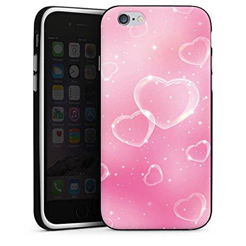 Apple iPhone X Silikon Hülle Case Schutzhülle Herz Liebe Pink Silikon Case schwarz / weiß