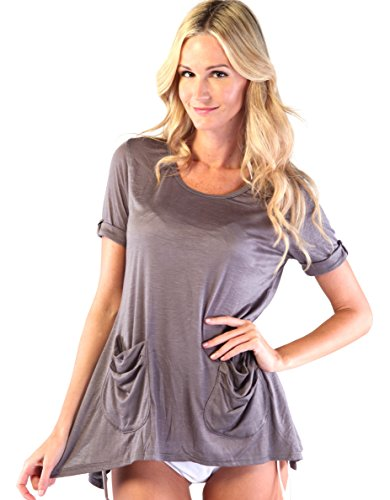 Scoop Neck Pocket Shirt (Large, Gray)