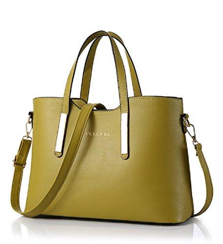 Borse a Mano Donna in Pelle - Landove Borsetta Shopper PU Leather Borsa a Tracolla Elegante Tote Bag Stoffa Grande per Viaggio / Spiaggia / Scuola verde