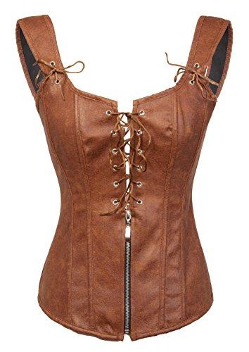 Bslingerie® Damenmode Dessous PU Leder-Optik Korsagen Bustier Korsett (L, Braun) (50's Und 60's Rock And Roll Kostüm)