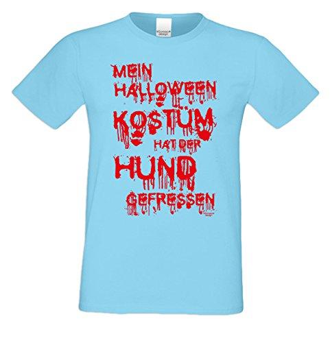 useliges Halloween-Herren-Fun-T-Shirt als Geschenke-Idee Motiv: Mein Halloween Kostüm hat der Hund gefressen Farbe: hellblau Gr: 3XL (Lustige Hund Halloween-kostüm Ideen)