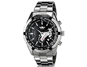 Winner TM340 Men's Stunning Automatic Mechanical Wrist Watch with Calendar Function & Stainless Steel Band (Black)