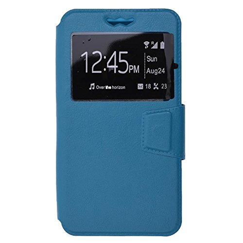 Shopme Premium PU Leather Flip cover for Intex Aqua N4 (BLUE COLOR ) (Slider for Taking Snaps, Caller ID Window,100% Camera Protection)  available at amazon for Rs.299