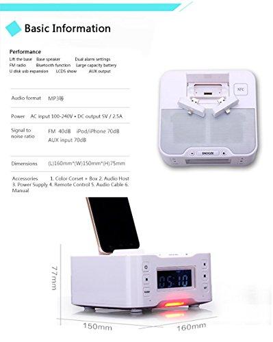 Mettime Clock Radio Dock Lautsprecher Bluetooth Alarm Ladestation FM Radio Dock Ladegerät und iPhone / iPad / Mini und Android-Handys , white , a9i (Dual Radio Wecker Usb)