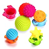 Sensory Balls for Baby- Great Variety In Texture and Color - Kids Rainbow Bath Toys- 6 Colorful Soft and Squeeze Sensory Toy + 4 Stacking Cups Set for Babies & Toddlers - Kids BPA Free Water Toy