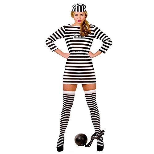 ((XS) Ladies Jailbird Cutie Budget Costume for Cops Police Robbers Fancy Dress Womens XS)
