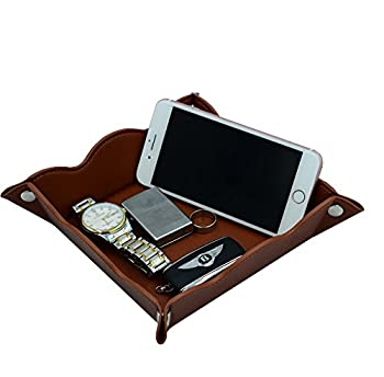 Lisrsc Travel Valet Jewelry Organiser Tray For Men,leather Portable Collapsible Wallet Phone Desk Storage Tray (Dark Brown) 5