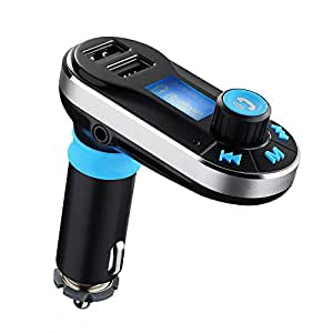 VicTop Bluetooth FM Transmitter Hands-free Car Kit Charger Support USB Driver and Micro SD Card for iPod/iPhone, Samsung, iPad, Nokia and other Mobile Devices