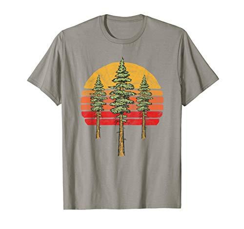 Retro Sun & Three Minimalist Redwood Trees Graphic  T-Shirt - Tree Hugger Gelben T-shirt