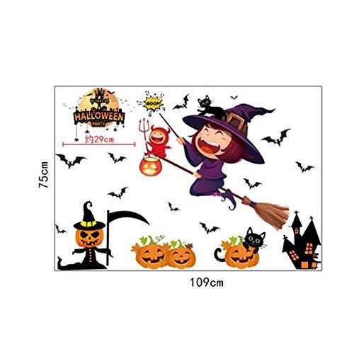 Wandsticker BTFWS-0090 Halloween Kürbis Aufkleber Fledermaus Hexe Fenster Aufkleber Blut Handabdruck Wandaufkleber ideal zum Dekorieren Kinderzimmer Wohnzimmer Schlafzimmer Kinderzimmer