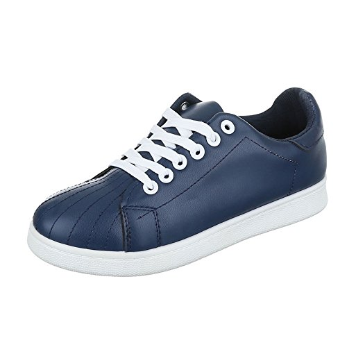 Low-Top Sneaker Damenschuhe Low-Top Sneakers Schnürsenkel Ital-Design Freizeitschuhe Blau
