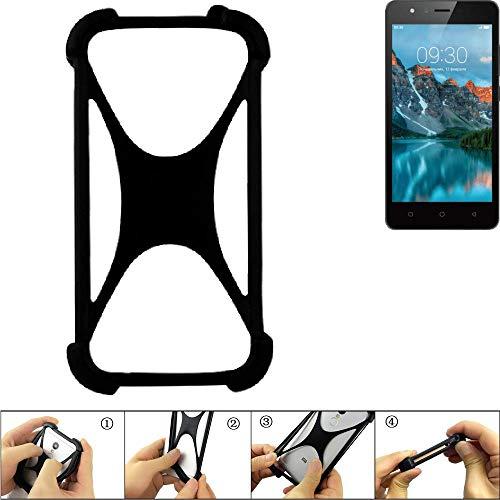 K-S-Trade Handyhülle für TP-LINK Neffos C5A Schutz Hülle Silikon Bumper Cover Case Silikoncase TPU Softcase Schutzhülle Smartphone Stoßschutz, schwarz (1x)