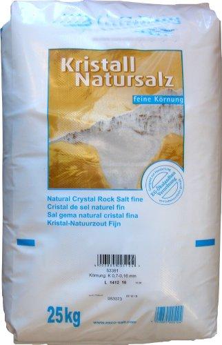 Esco Kristall Natursalz feine Körnung Reines Steinsalz ohne Zusätz, 1er Pack (1 x 25 kg) - Salz-kristalle