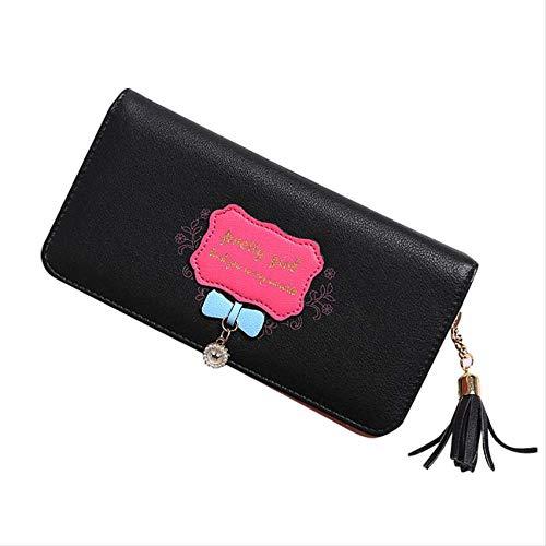Damen Clutch, Bow Long Wallet Brieftasche Aus Pu-Leder Mit Fransen Kartenetui Für Damen (Satin-long Wallet)