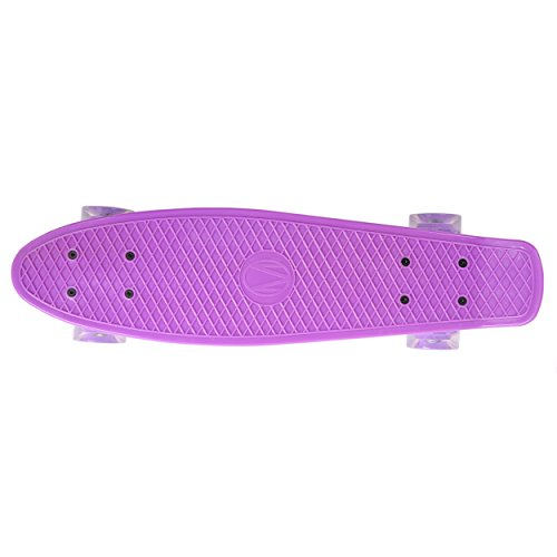 57cm Mini Cruiser board Retro Skateboard mit LED Leuchtrollen und Aluminium Trucks ABEC-7 Classics -