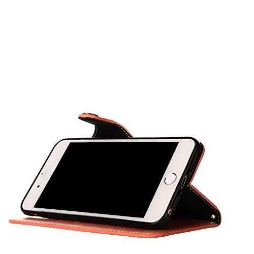 iPhone 6S Hülle,iPhone 6 Tasche,TOUCASA® Apple iPhone 6 / 6S Ledertasche Hülle Schutzhülle Retro Bunte Rose Tasche Lederhülle mit Handschlaufe Scratch Ledercase Schale Umschlag Stil Flip Wallet Case C Rosa