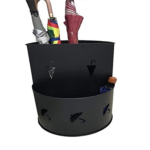Schirmständer Freistehendes Metall-langes/kurzes Trockengestell mit Auffangschale, Ausschnitt-Schirmhalter 19,68 Zoll hoch (Farbe : Schwarz)