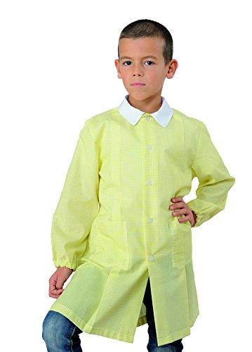 Grembiule pollicino isacco per asilo e scuola materna 3-6 anni (5 anni, quadretto giallo)