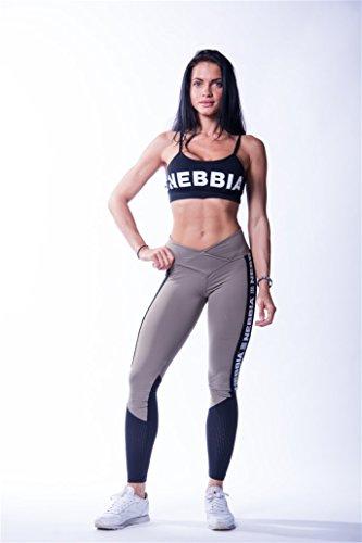 Nebbia Women's Damen High Waist Mesh Leggings 601 Fitness, Hosen, Pants, Aerobic (Mocha, S) - Mesh Womens Pants